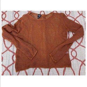 Eileen Fisher Rust Orange Sweater Linen Nubby Loose Knit